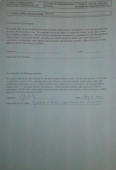 Firma del Certificado de Usuario Final para el sistema de espionaje Pegasus