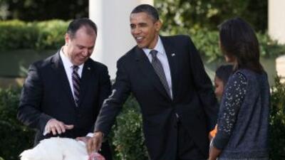 Obama estuvo acompañado por sus dos hijas, Malia y Sasha.