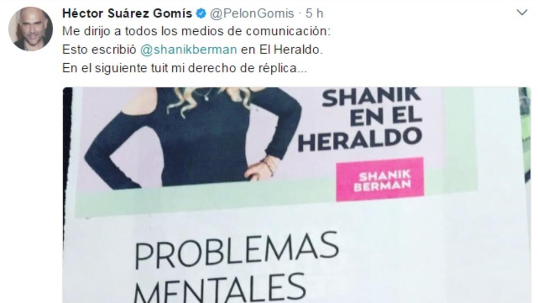 Héctor Suárez Gomís luego de leer la columna de la periodista en un diar...