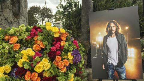 HOLLYWOOD, CA - MAY 26: Decorations at Chris Cornell's funeral services...