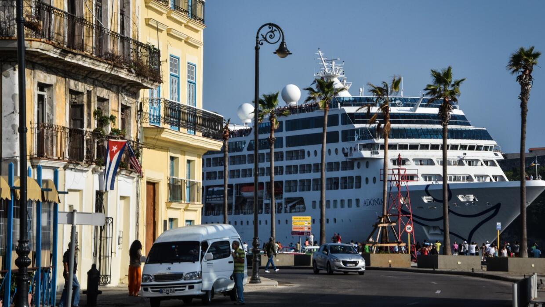 A cruise ship entering the port of Havana.