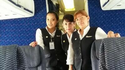 María Daniela Ríos Rodríguez (izquierda) formaba parte de la tripulación...