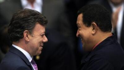 El encuentro entre los mandatarios Juan Manuel Santos y Hugo Chávez fue...