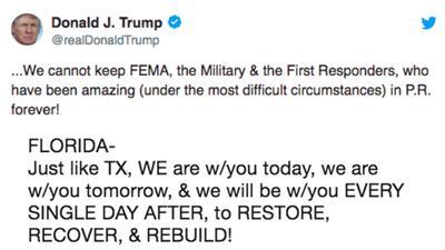 Montaje con los tuits de Donald Trump sobre los huracanes en Puerto Rico...