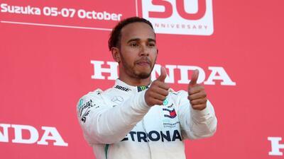 La fiesta de Lewis Hamilton por su triunfo en el Gran Premio de Japón en Fórmula 1