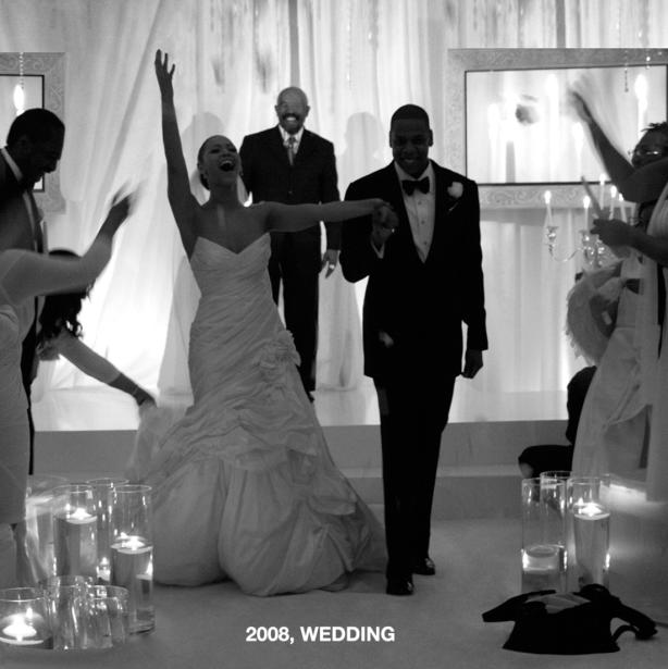 Beyoncé y Jay Z en su boda, en 2008.