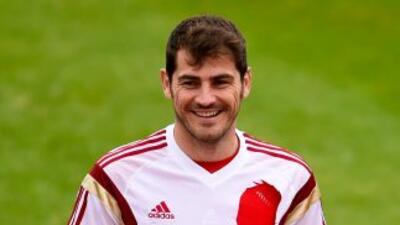 Iker Casilllas en el entrenamiento de España en Brasil.