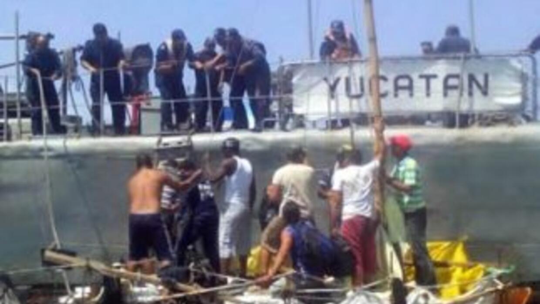 Cubanos rescatados en México. Crédito: Secretaría de Marina