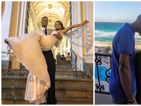 El vallista ponceño se casó el sábado con su novia...