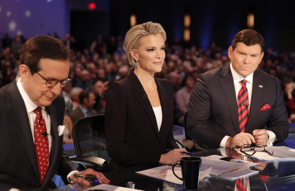 Fox News Channel anchors and debate moderators (L-R) Chris Wallace, Megy...