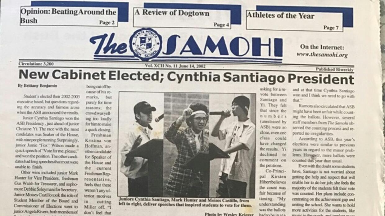 The front page of the Samohi student newspaper, June 14 2002, reporting...