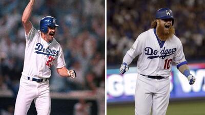 Kirk Gibson y Justin Turner, los bateadores de poder de los Dodgers de 1...