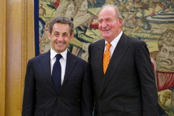 Este 2014 Juan Carlos recibió a Nicolas Sarkozy en el Palacio de la Zarz...