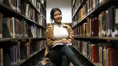 La estudiante Michelle Rodríguez en Malcolm X Community College de Chicago