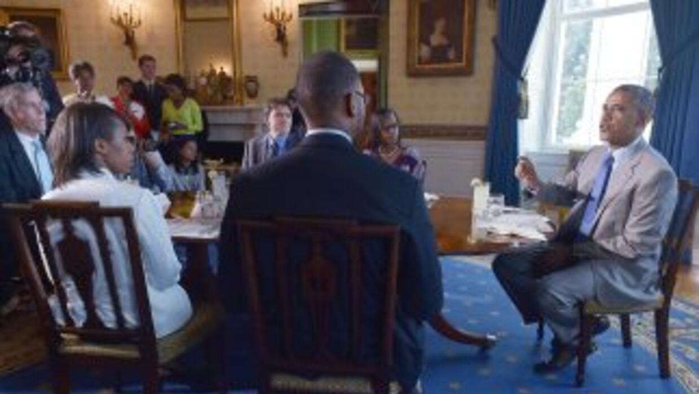 El presidente Barack Obama en un almuerzo con un grupo de maestros en la...