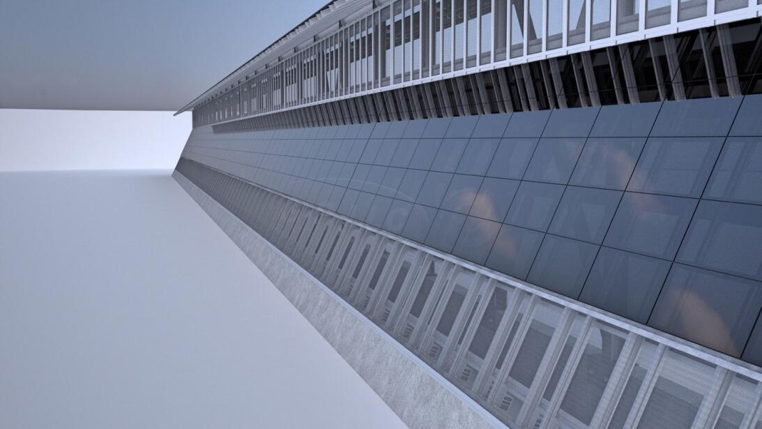 Un muro de concreto con paneles solares para generar electricidad para v...