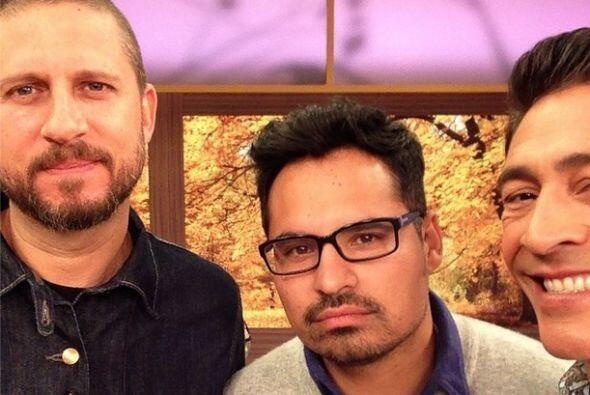 """""""Foto con mi panita @michaelpena y el director de la película #Fury @dav..."""
