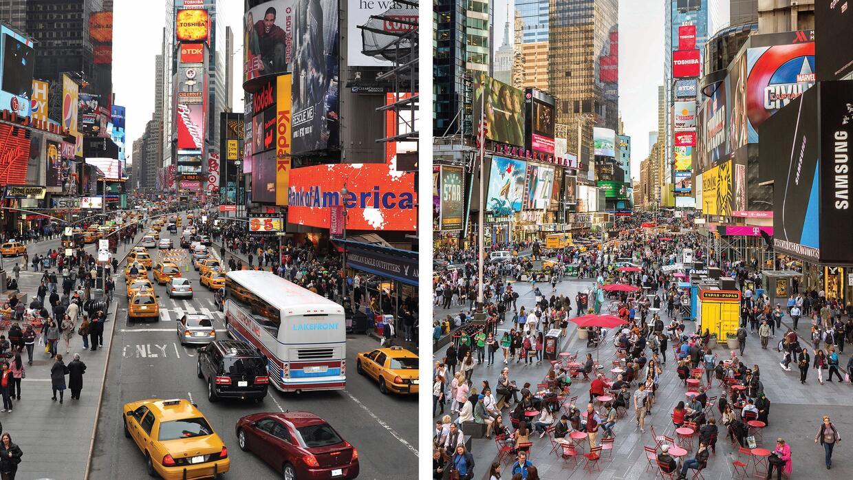 Los rediseños de Times Square han ido progresivamente dando más espacio...
