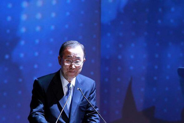 El secretario general de Naciones Unidas, Ban Ki-moon, habló durante la...