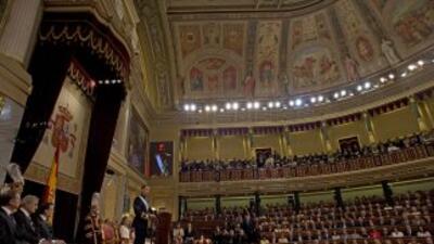 El Rey de España, Felipe VI, se dirige al Congreso de los Diputados dura...