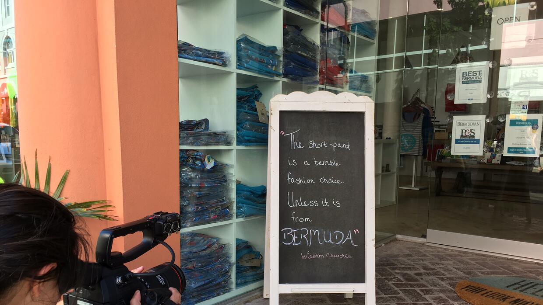 Bermuda shorts on sale in Hamilton, Bermuda. Winston Churchill is repute...