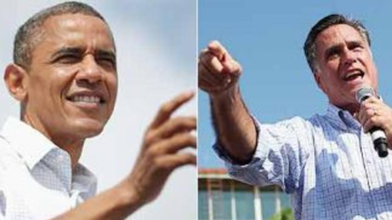 El Presidente Barack Obama y el candidato republicano Mitt Romney van a...