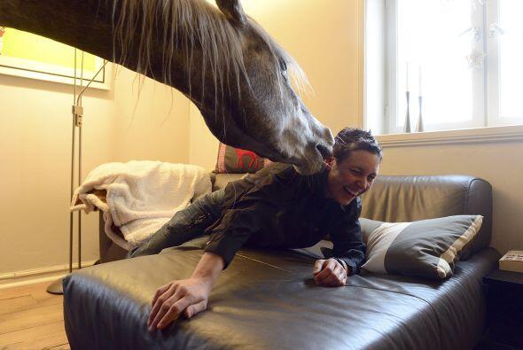 Ya que si el caballo decidiera saltar sobre su dueña seguramente le caus...