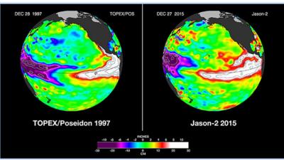 Imágenes satelitales de la misión Jason-2 muestran una gran semejanza en...
