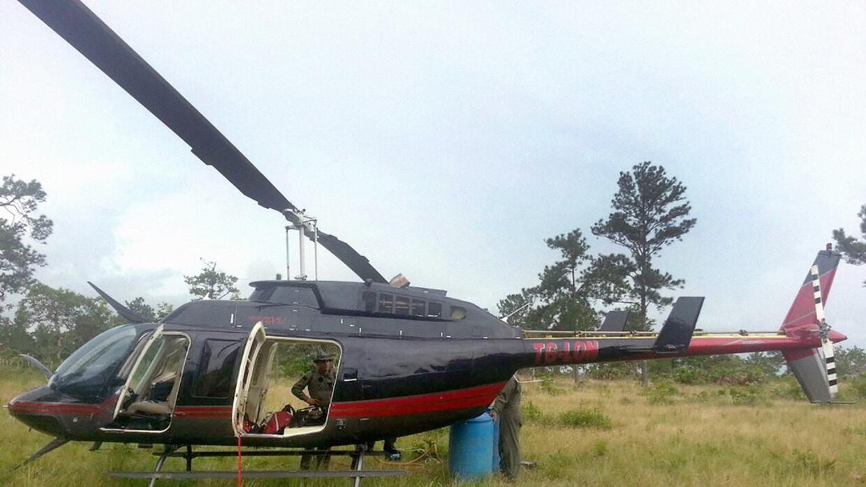 Helicóptero del narcotráfico incautado en La Mosquitia en 2014.