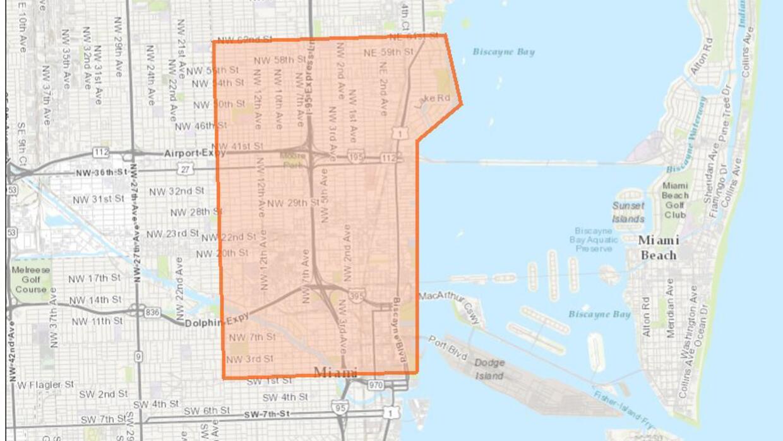 El área del norte de Miami donde se llevará a cabo la fumigación.