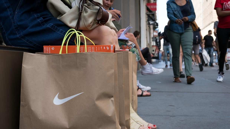 A Nike shopper in Soho, New York.