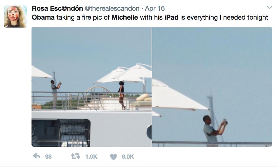 """""""Obama tomándole una foto a Michelle con su iPad es todo lo que nec..."""