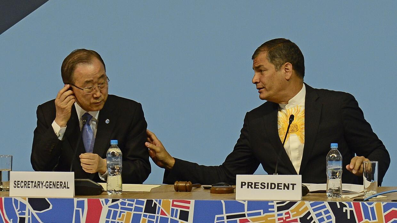 El secretario general de la ONU, Ban Ki-Moon, y el presidente de Ecuador...