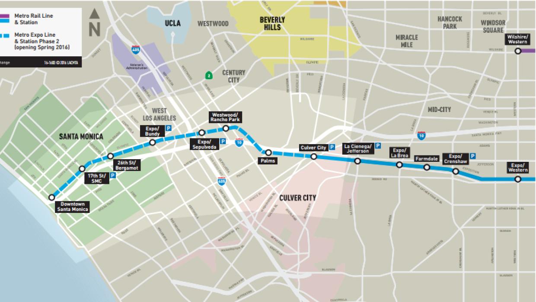 Mapa de la línea de metro a Santa Mónica
