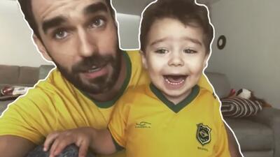 La porra del esposo de Ariadne Díaz  y su hijo Diego que no alcanzó para evitar la eliminación de la selección brasileña