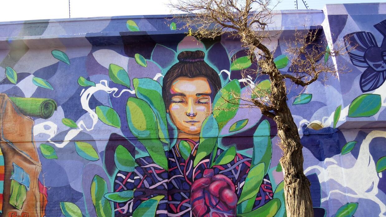 Un mural hecho por una artista chilena.