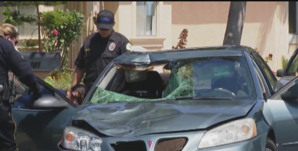 El auto de Esteysi (Stacey) Sánchez, una mujer acusada de atropellar a u...