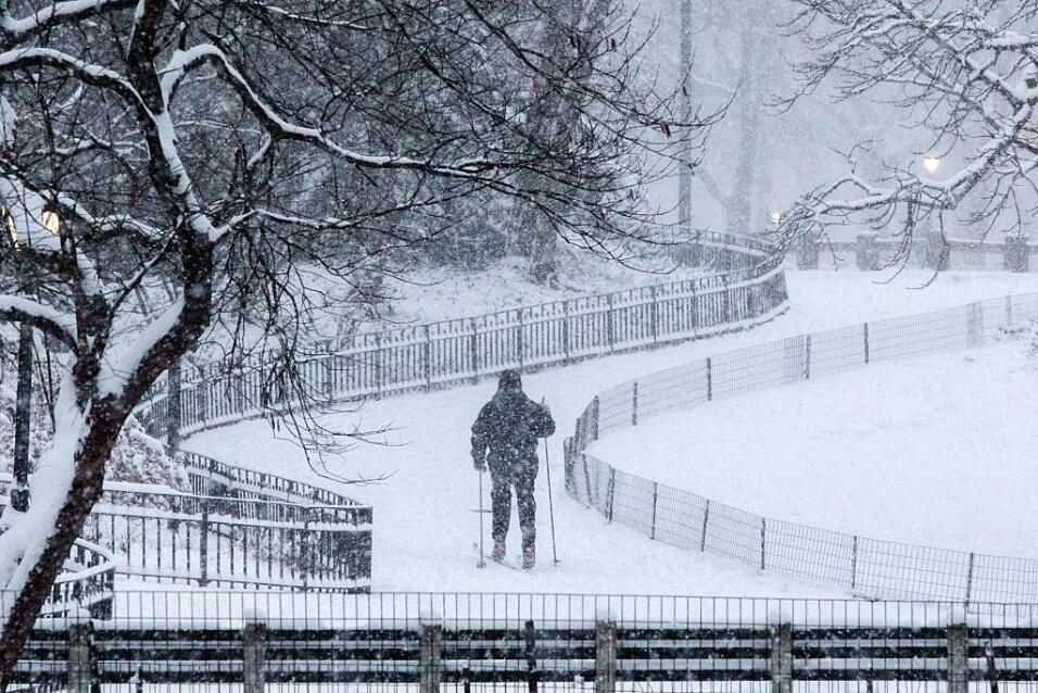 La nieve ha comenzado a caer en el Parque Central de la ciudad de Nueva...