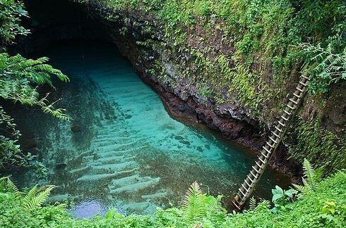 To Sua en el pueblo de Lotofaga en Upolu, Samoa
