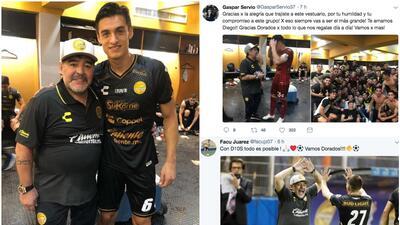 Los jugadores de Dorados se rindieron ante Maradona después de su debut con goleada