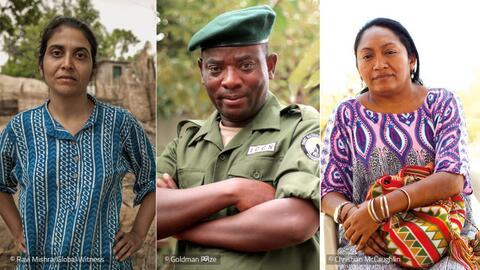 Estos son los rostros de tres defensores del ambiente que actualmente su...
