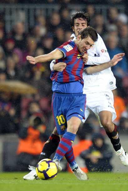 El Sevilla aguantó bien al Barcelona durante todo el primer tiempo.