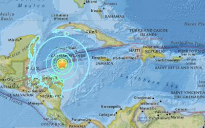 El epicentro se ubicó a unas 125 millas de las costas de Honduras.