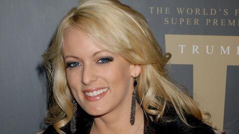 La actriz de cine porno, Stormy Daniels, en la fiesta de presentación de...