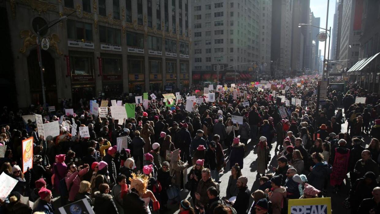Protestors in New York, January 20, 2018.