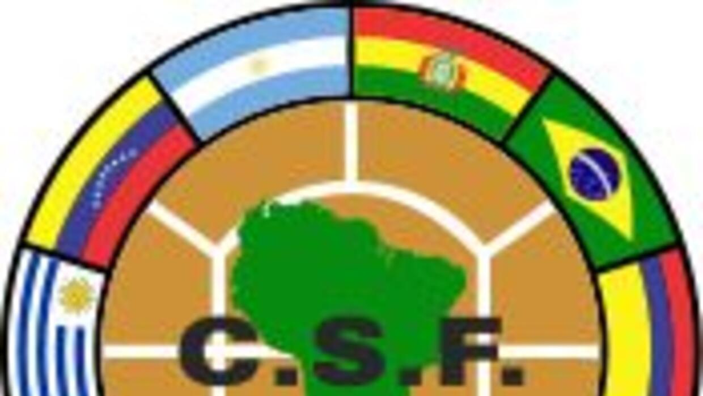 Logo de la Conmebol, el ente que rige el fútbol de Sudamérica.