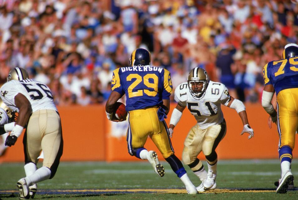 Juego de Rams vs. Saints en 1986. Foto de la estrella Eric Dickerson
