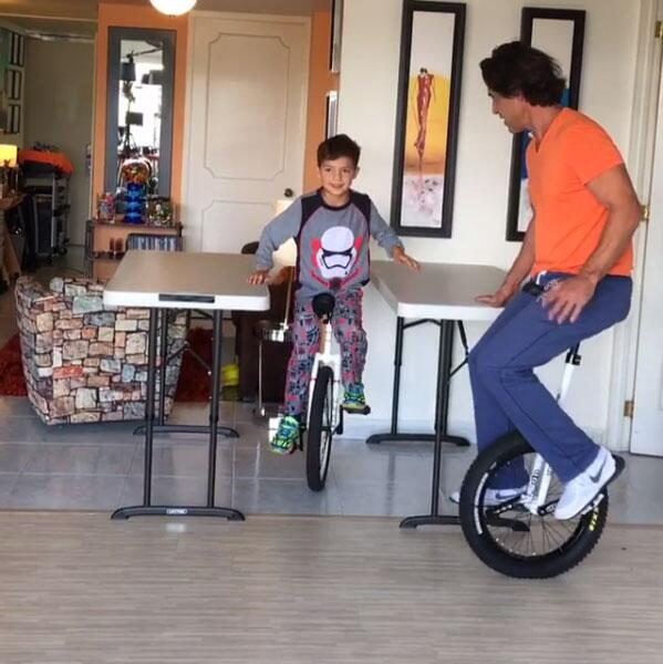 Jorge Aravena y su hijo