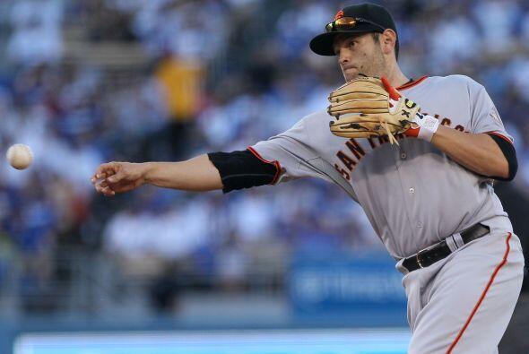 El californiano Freddy Sánchez, segunda base de los campeones Giants de...