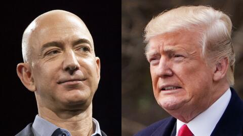 Jeff Bezos, CEO de Amazon, y el presidente Donald Trump.